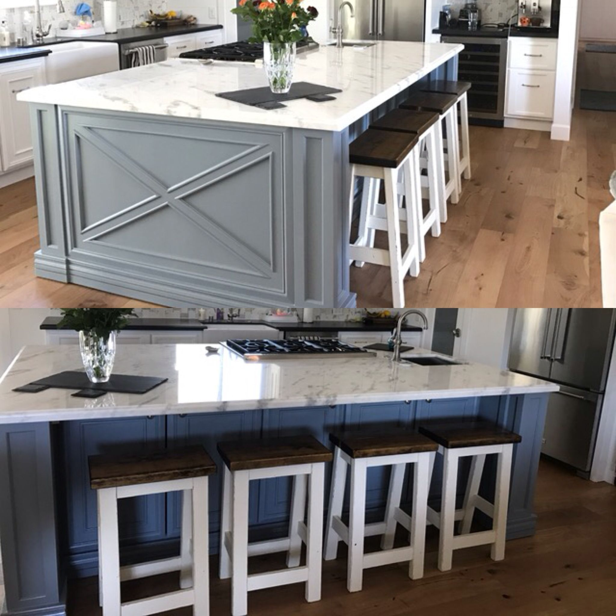 Custom built painted and stained farmhouse style chairs