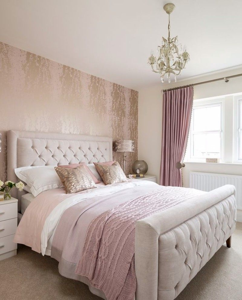 Bedroom Inspiration 10 Charming Bedrooms In Millennial Pink Grey Upholstered Bed Metallic