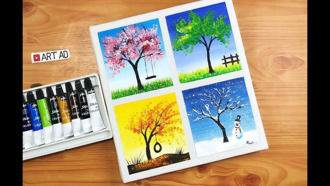 Art painting 2/ Acrylic/ Four seasons painting/ Vẽ tranh