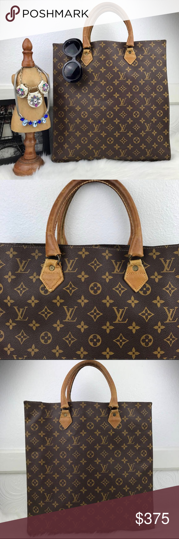 21d049e4ebc1 LOUIS VUITTON French Company Sac Plat Shopper Tote French Company Louis  Vuitton Sac Plat Tote Bag with Top Handles. The bag is in grea…