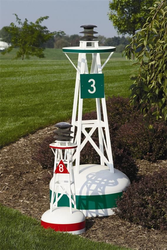 Lighthouse Decor For Patios Ornamental Outdoor Nautical Solar Large Buoy 54