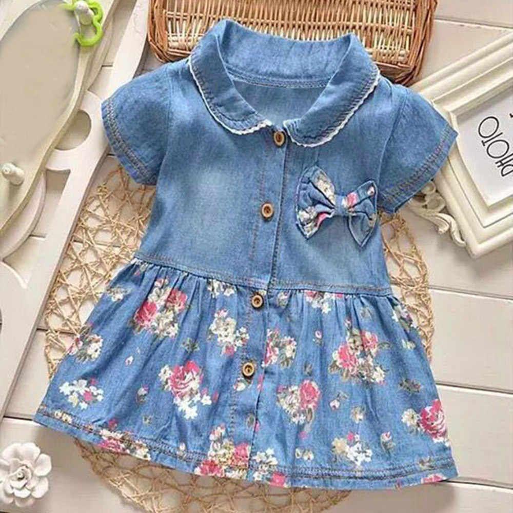 f9f9a3ef5b3 Платье для малышек для маленьких девочек цветочный принт летнее платье с  проектом и бантом с коротким
