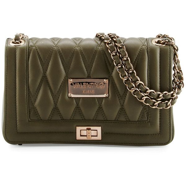 180ab4ddc86 Valentino By Mario Valentino Alice D Quilted Leather Shoulder Bag ($427) ❤  liked on Polyvore featuring bags, handbags, shoulder bags, army green, ...