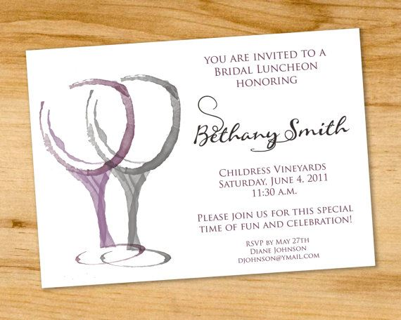 Vineyard Bridal Shower Luncheon Invitation Winery Invitaion