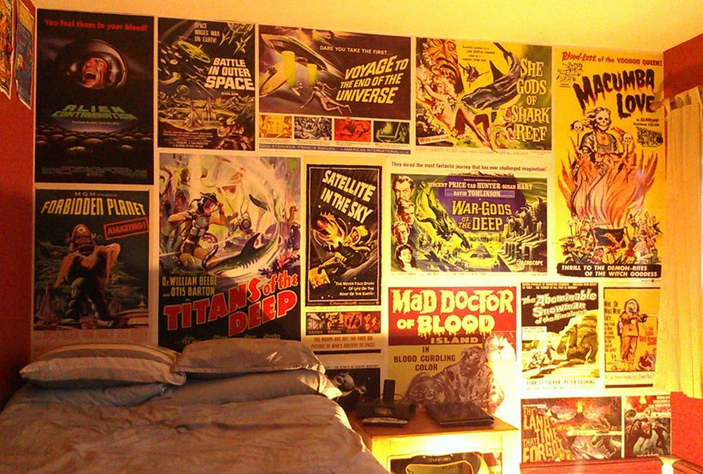 This Could Go In Here I Wrapped One Of The Walls In My Room With A Collage Of Vintage Sci Fi Movie Posters From The 50s And 60s Bedroom Posters Horror Room