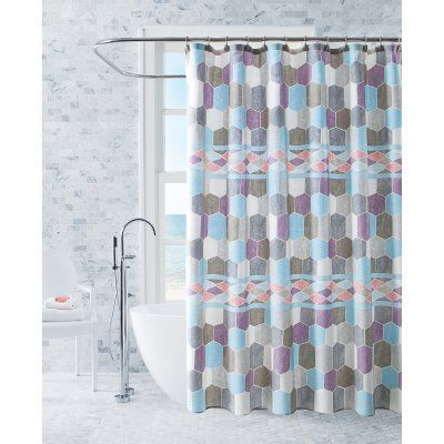 Better Homes And Gardens Hexagon Shower Curtain With Curtain Hooks