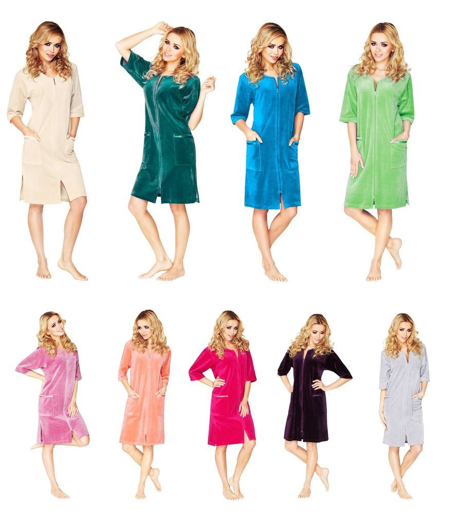 Womens Cotton Robe Housecoat Dressing Gown Dress Velour Bathrobe Zip