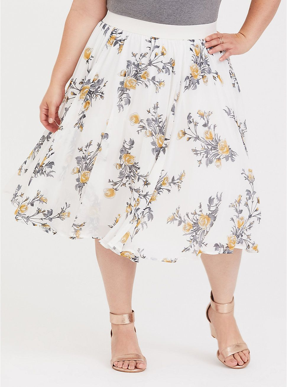 7b5e15736e31 Ivory Floral Chiffon Midi Skirt | 2018: Wishes, Wants and the ...