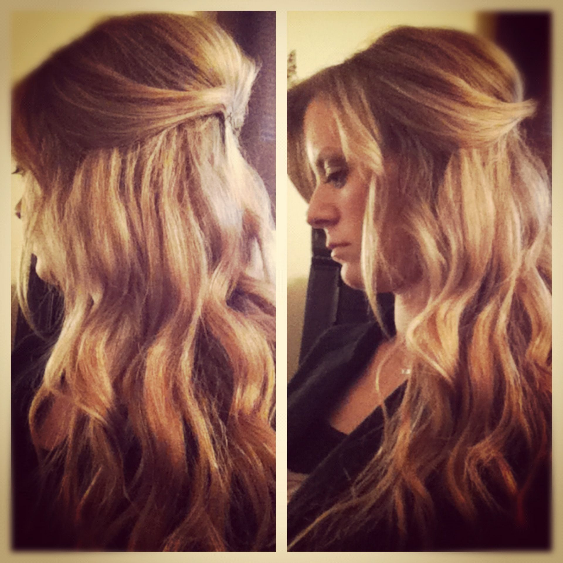 Long hair with loose waves half updo with pouf