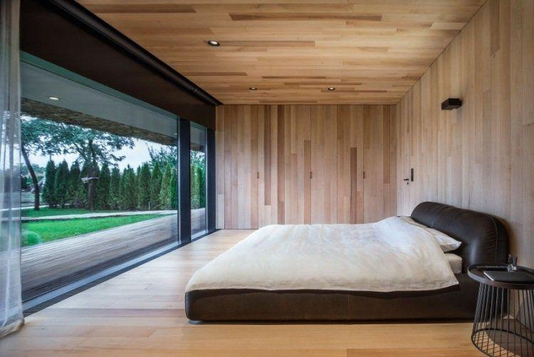 Faux Plafond Bois Avec Éclairge Led Intégré, Sol En Parquet