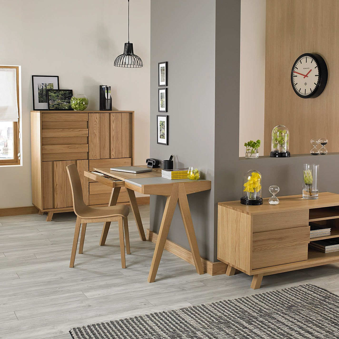 grey wood flooring and oak furniture Google Search Oak