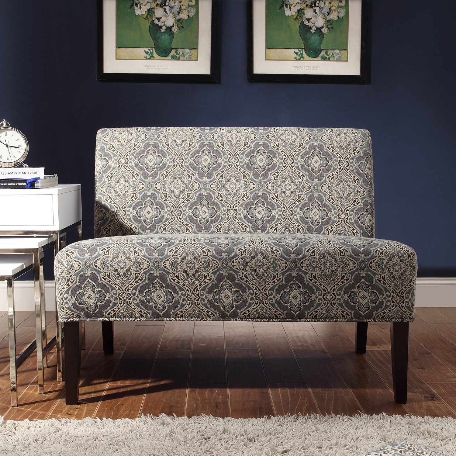 This Elegant Gray Armless Loveseat Fits Perfectly In A