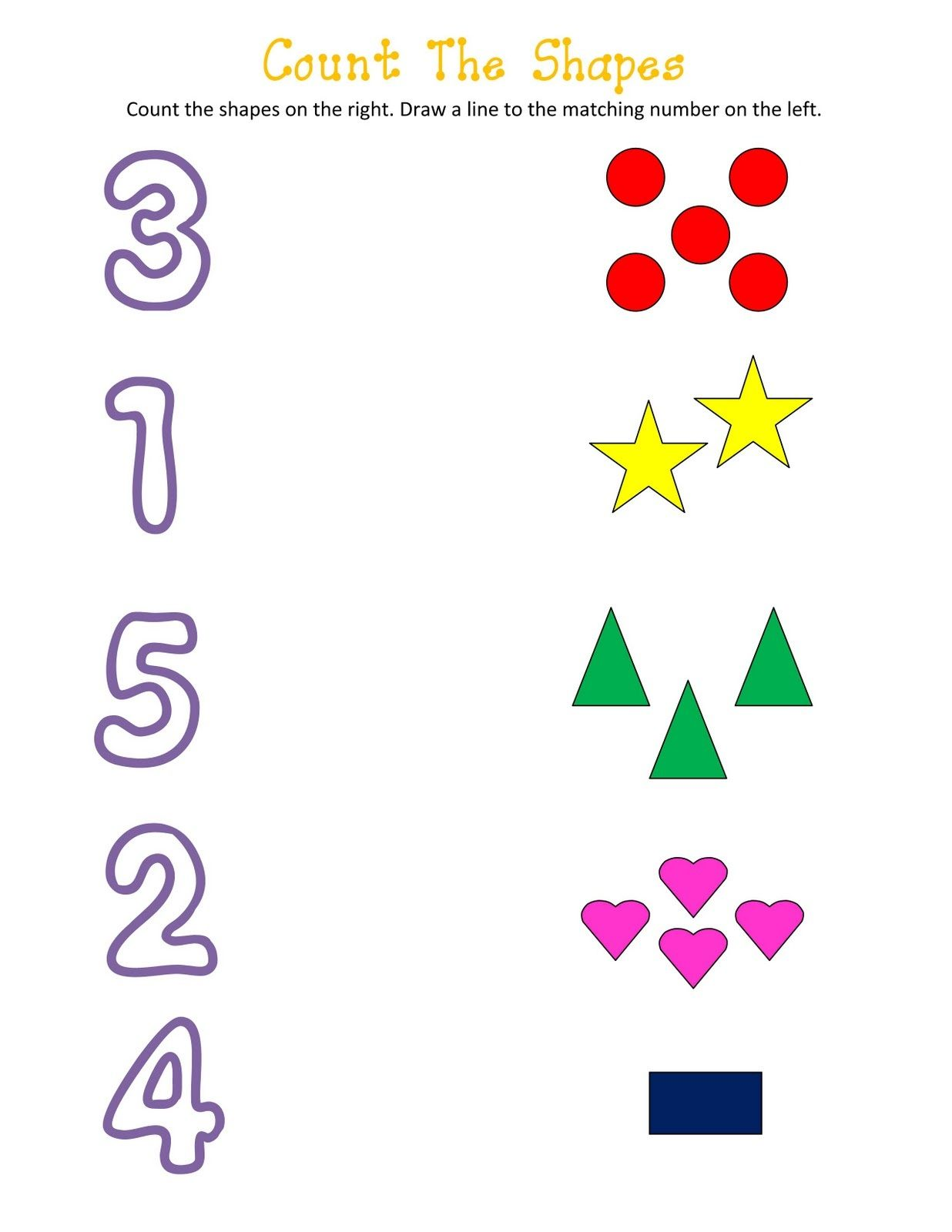 Shapes And Numbers Worksheets For Kids In