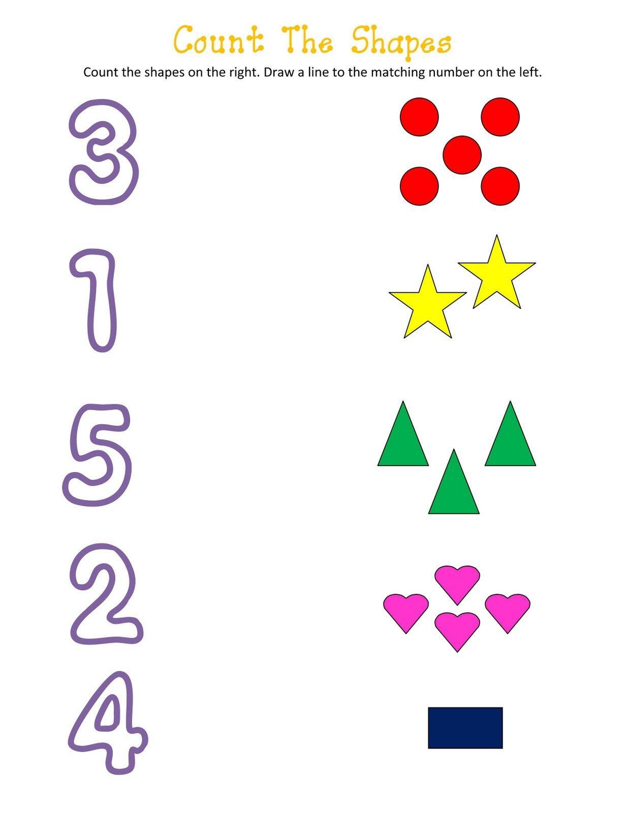 shapes and numbers worksheets for kids kids worksheets. Black Bedroom Furniture Sets. Home Design Ideas