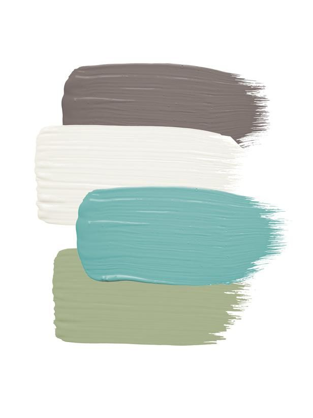 Siding: Sparrow by Benjamin Moore; Trim and fence: Frostine by Benjamin Moore; Front door: Majestic Blue by Benjamin Moore; Corbels: Thicket by Benjamin Moore #colorpalettecopies