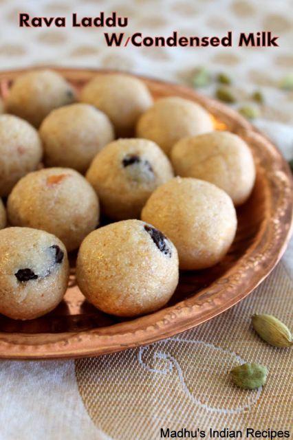 Rava Laddu With Condensed Milk Milk Maid Sooji Laddu Indian Dessert Recipes Indian Desserts Recipes