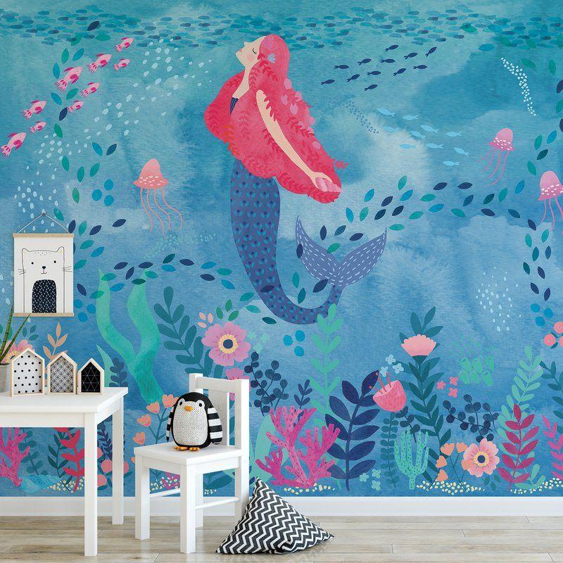Tyringham Mermaid Magic Peel And Stick 9 83 L X 94 W Wall Mural Kids Room Murals Wall Murals Murals For Kids