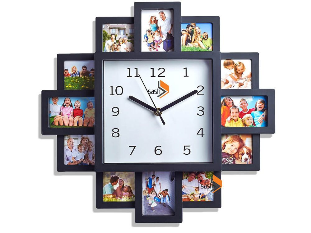 Family Love Picture Wall Clock 12 Multi Photo Modern Aperture Frame Home Decor Wall Clock Collage Wall Clock With Pictures Family Wall Clock