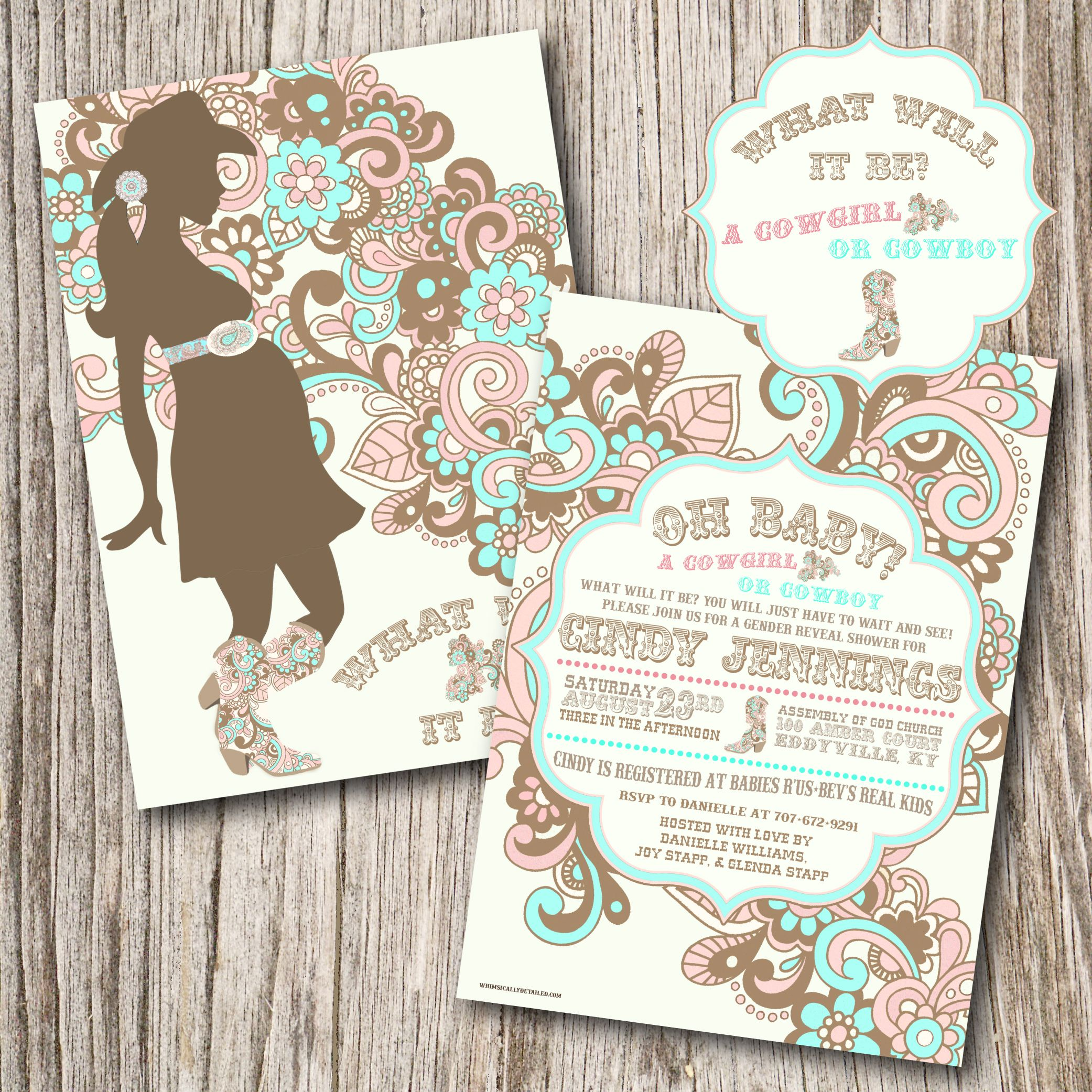 Invitation turquoise and pink | bby shower | Pinterest | Gender ...