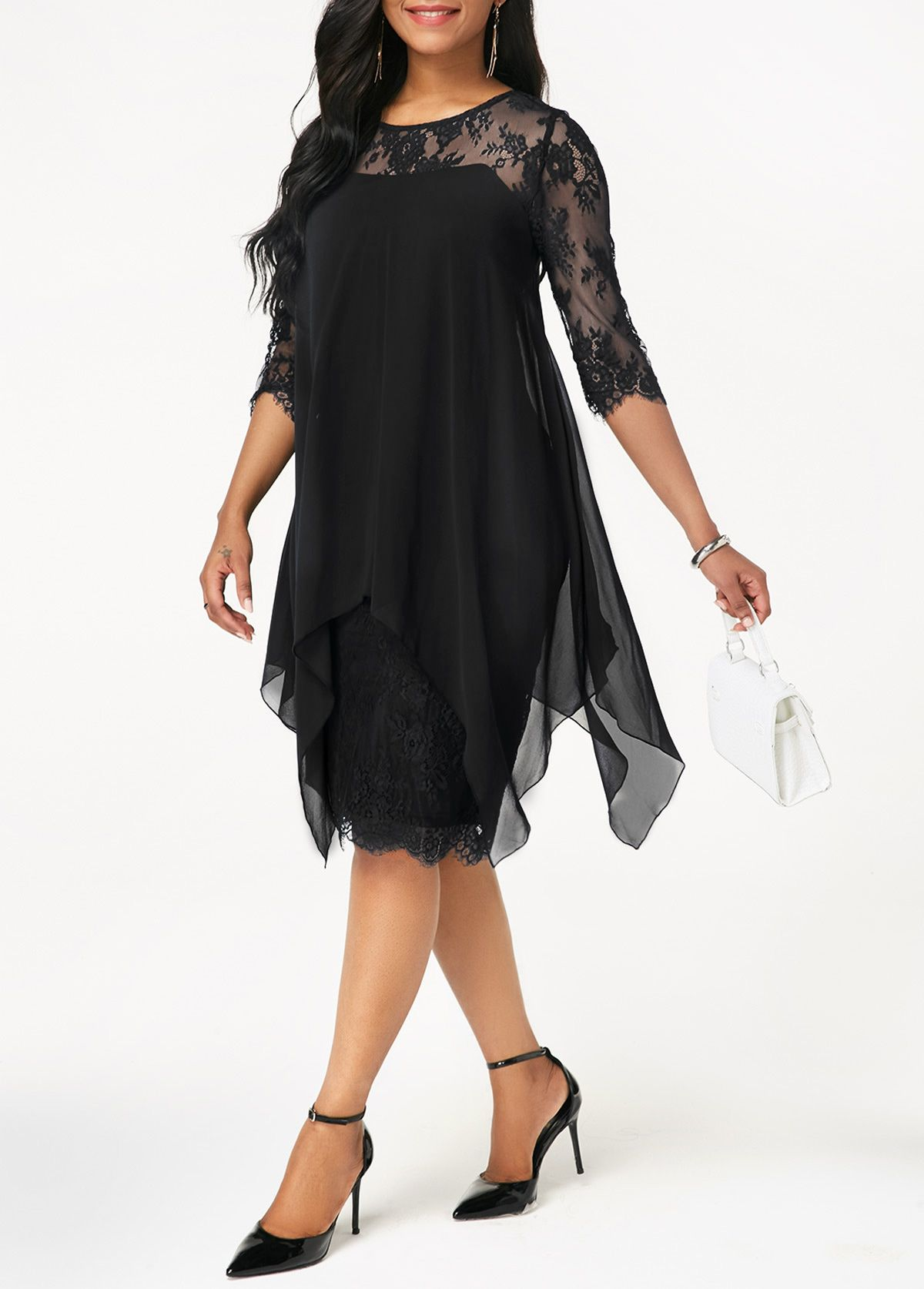 Three quarter sleeve chiffon overlay black lace dress in lace