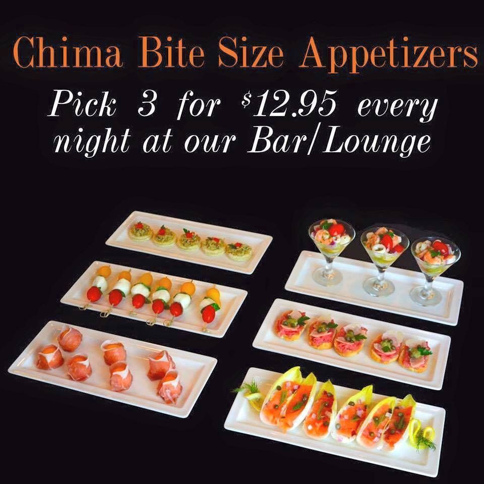 *NO EXCUSES TO TRY!*  If you love our appetizers but can't seem to make up your mind about your favorite one, there's no need to panic! Pick 3 of your favorite 3 bite-size appetizers for only $12.95 every night at our Bar area. Share a one-of-a-kind experience at Chima!  Call us now at (215) 525-3233 to book your reservations or just log in thru our website at www.chimasteakhouse.com  Remember: We offer complimentary valet 7 nights per week specially when you join us for our Rodizio Dinner!