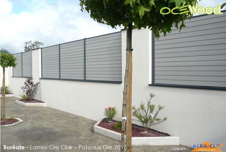 Oc Wood Panneaux De Cl Ture Composite Sur Muret Gamme Bor Ale Lames Gris Clair Et Poteaux