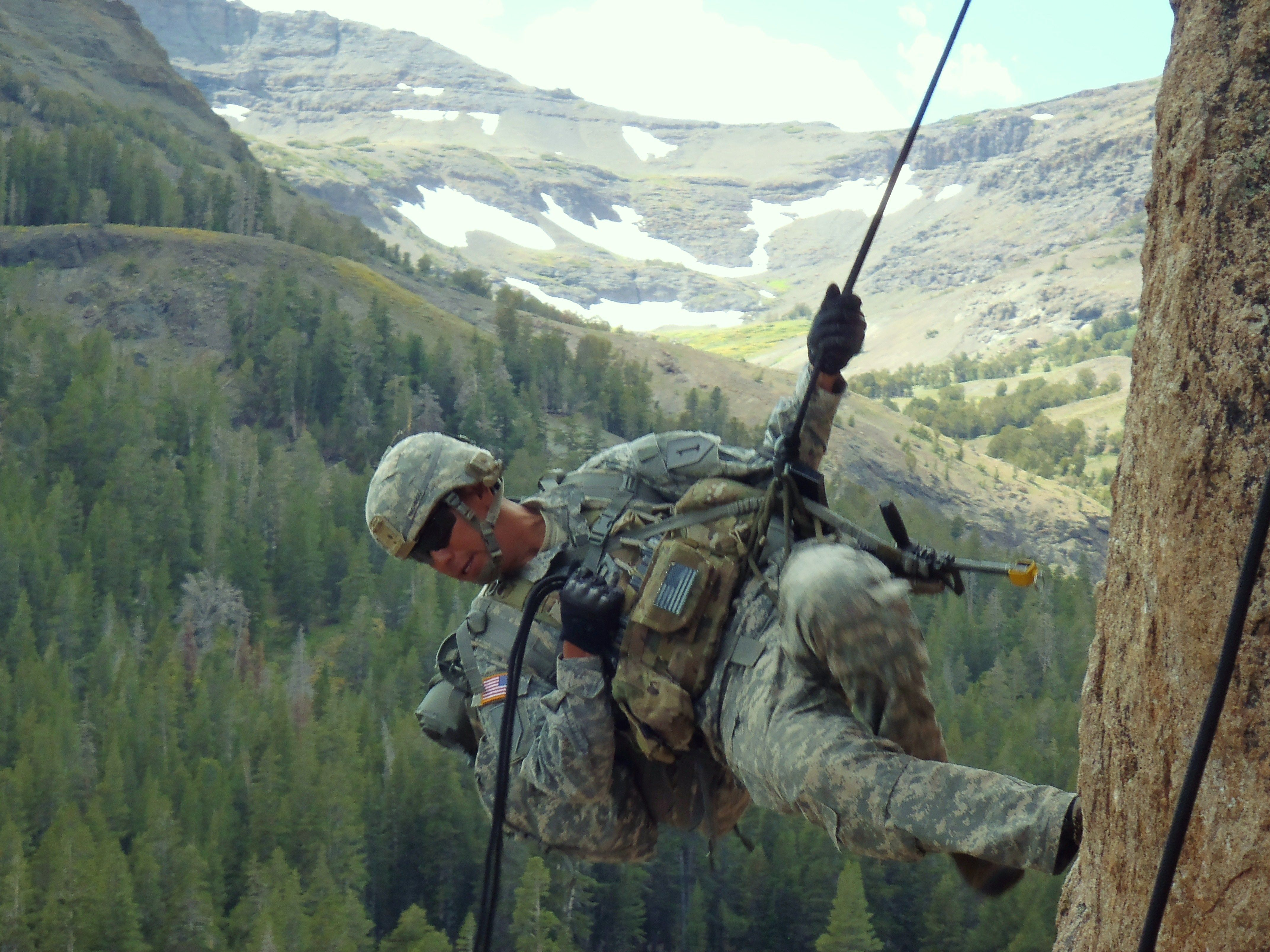 Cpl. Jose Pacheco, Headquarters and Headquarters Platoon, Company D, 1st Battalion, 28th Infantry Regiment, 4th Infantry Brigade Combat Team, 1st Infantry Division, practices rappelling techniques during the basic-mobility portion of Mountain Exercise 08-11 at the Marine Corps' Mountain Warfare Training Center in Northern California's Toiyabe National Forest, Sept. 22. Pacheco and his fellow Soldiers will use the technical skills they learn during basic-mobility to gain a tactical advantage