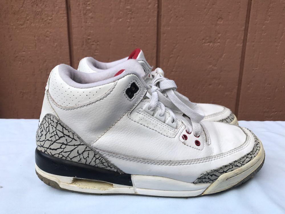 3bf0133876a eBay #Sponsored RARE 2003 Nike Jordan III 3 Retro WHITE CEMENT GREY RED  BLACK 834014-102 US 6Y