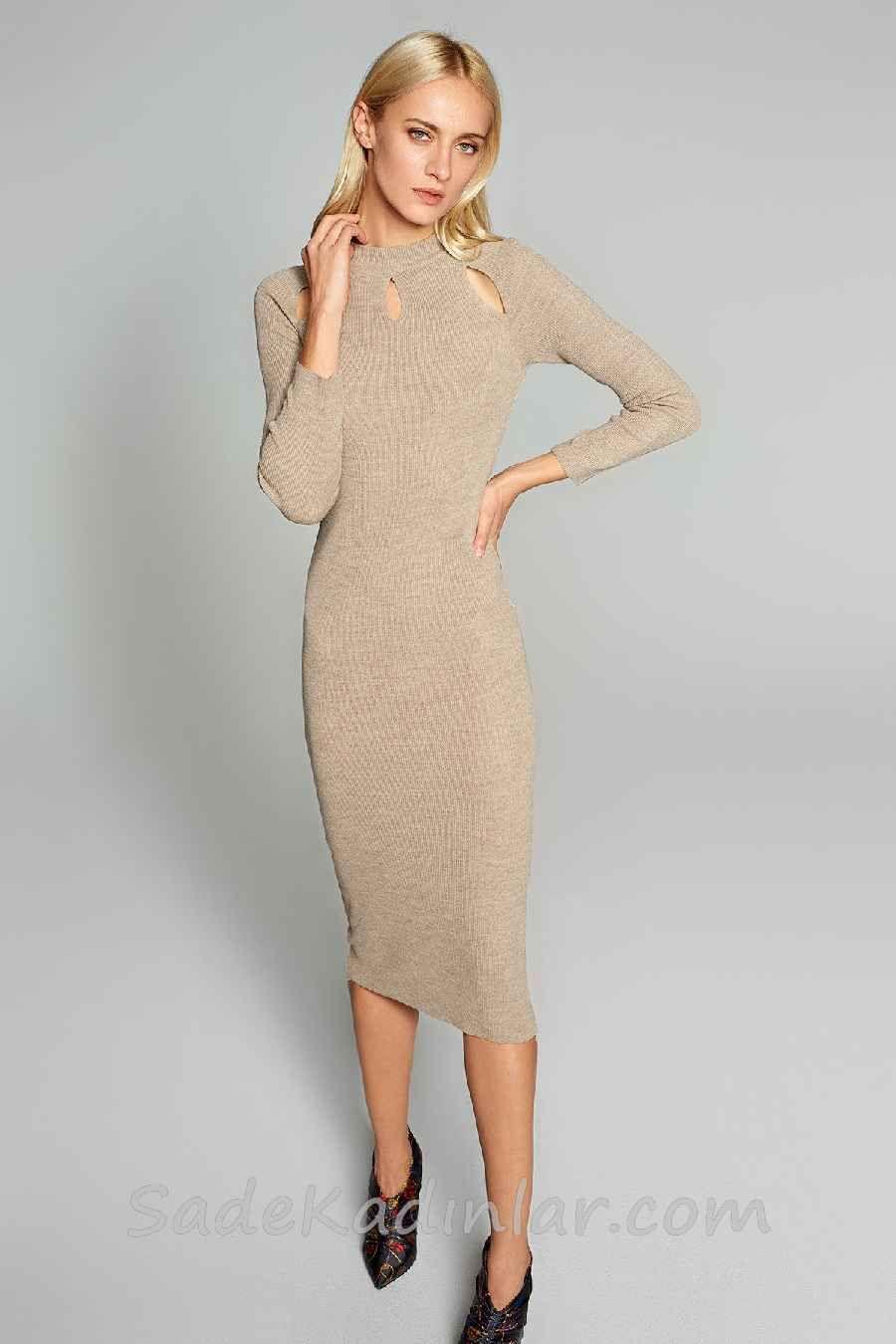 2021 Kislik Elbise Kombinleri Vizon Dizalti Yakasi Pencere Goz Detayli Uzun Kollu Elbise Modelleri Elbise The Dress