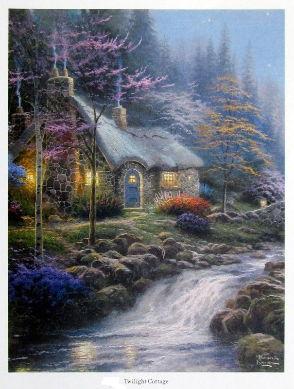 Brilliant Twilight Cottage Thomas Kinkaid Painting Thomas Kinkade Home Interior And Landscaping Ologienasavecom