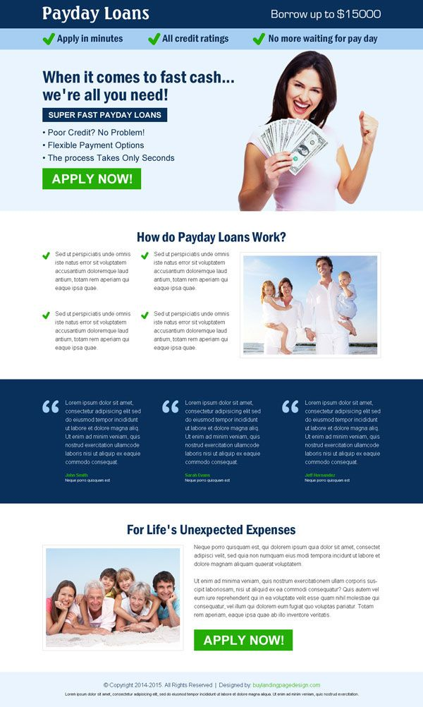 Best payday cash loan in advance landing page design templates - loan templates