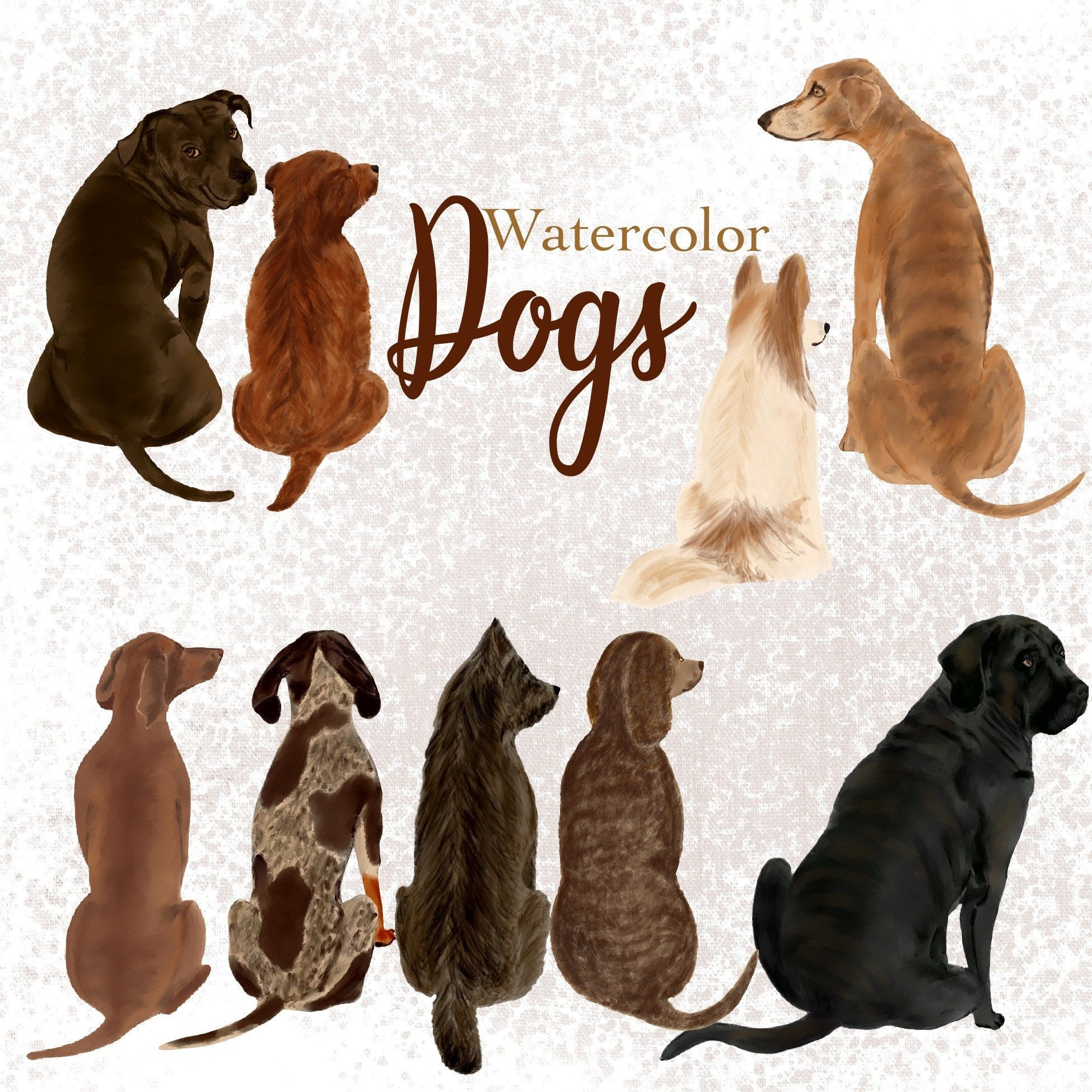 Watercolor handpainted dog clipart dogs from back side