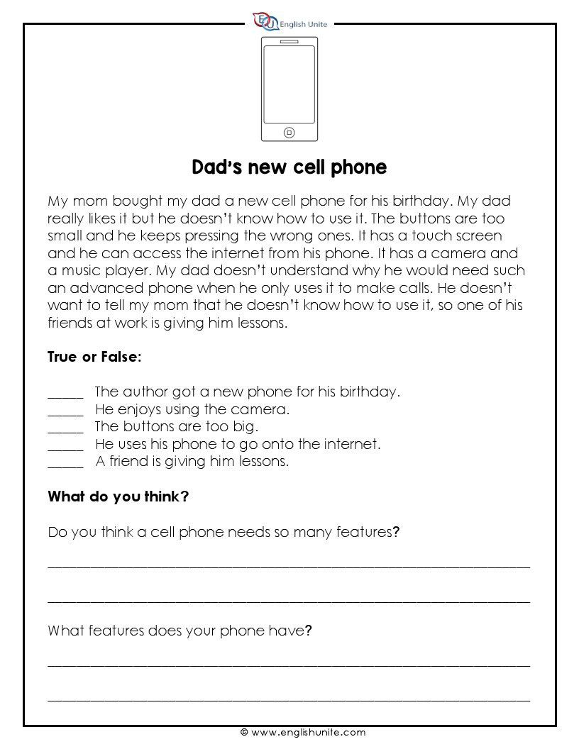 Short Story New Cell Phone English Unite Short Reading Passage Reading Comprehension Worksheets Free Reading Comprehension Worksheets [ 1056 x 816 Pixel ]