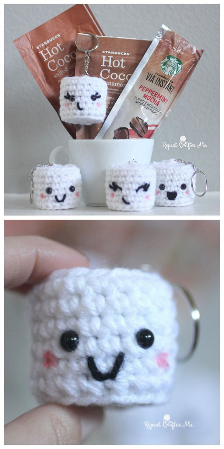 DIY Crochet Kawaii Marshmallows Free Pattern from Repeat Crafter Me.Make these quick and easy amigurumi DIY Crochet Kawaii Marshmallows to accompany holiday gifts. You can leave them as is or make them into keychains.