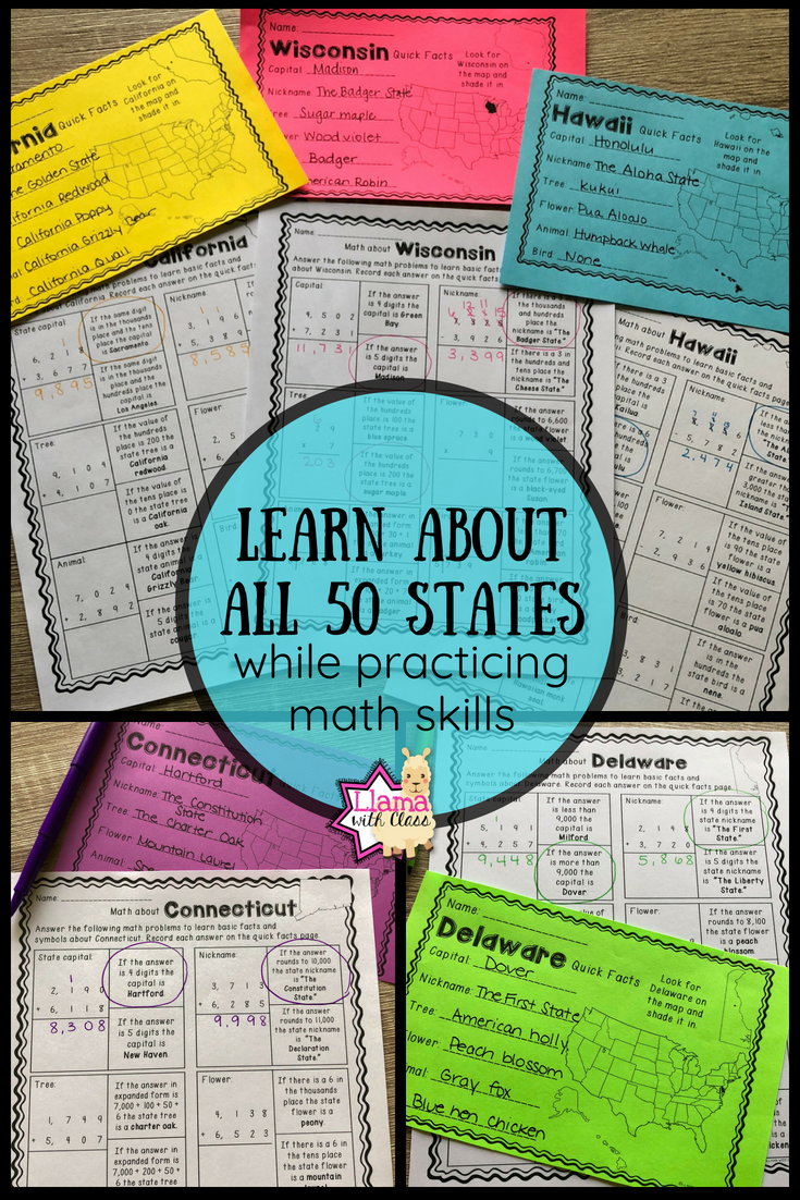 Math about All 50 States Bundle | Pinterest