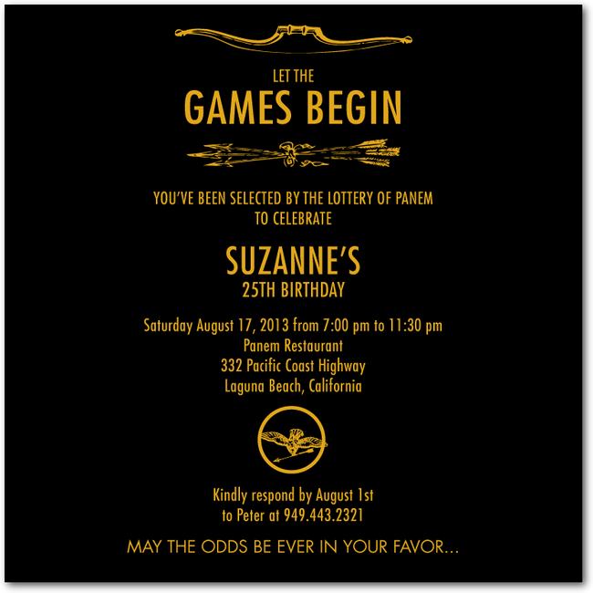 Games Begin Hunger Games inspired party invite  Wiley Valentine