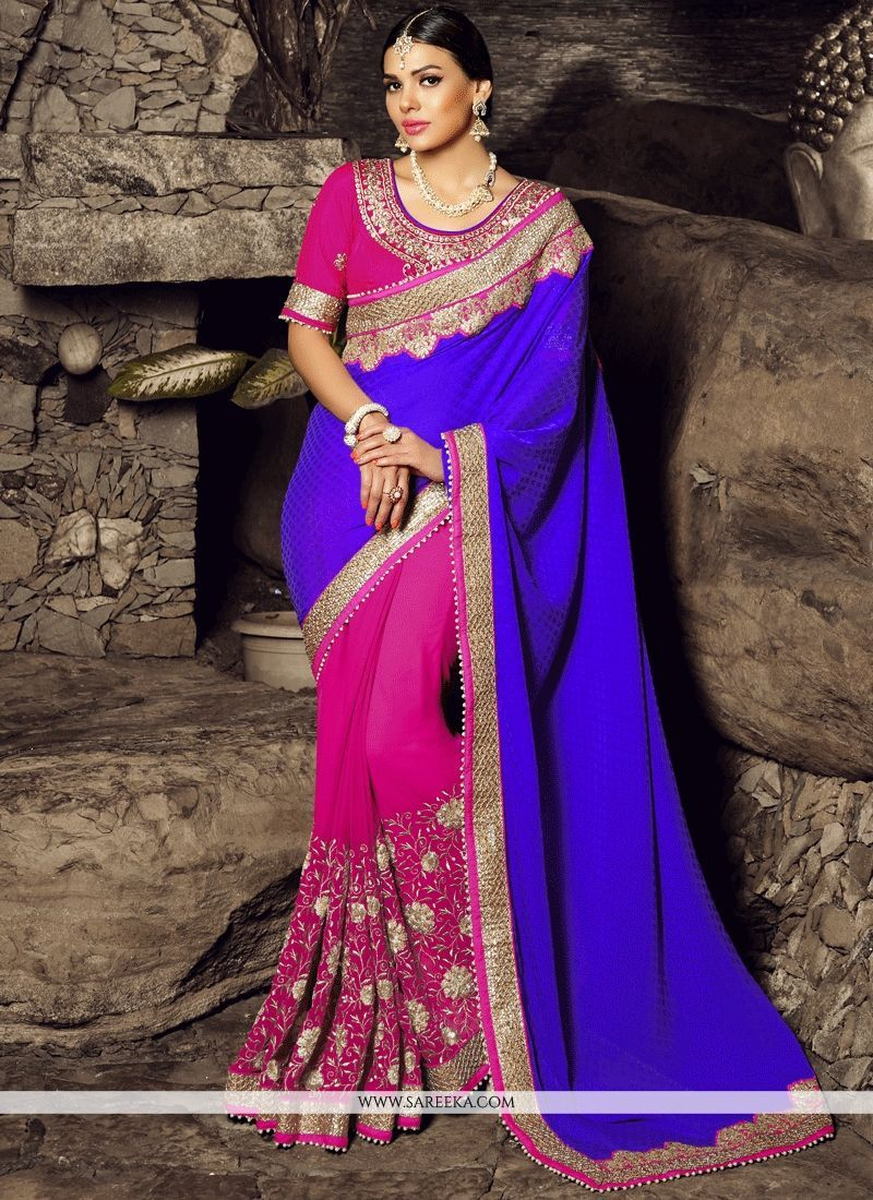 bcfecfb46d097d An outstanding blue and hot pink art silk half n half saree will make you  look very stylish and graceful. The beautiful embroidered and patch border  work a ...