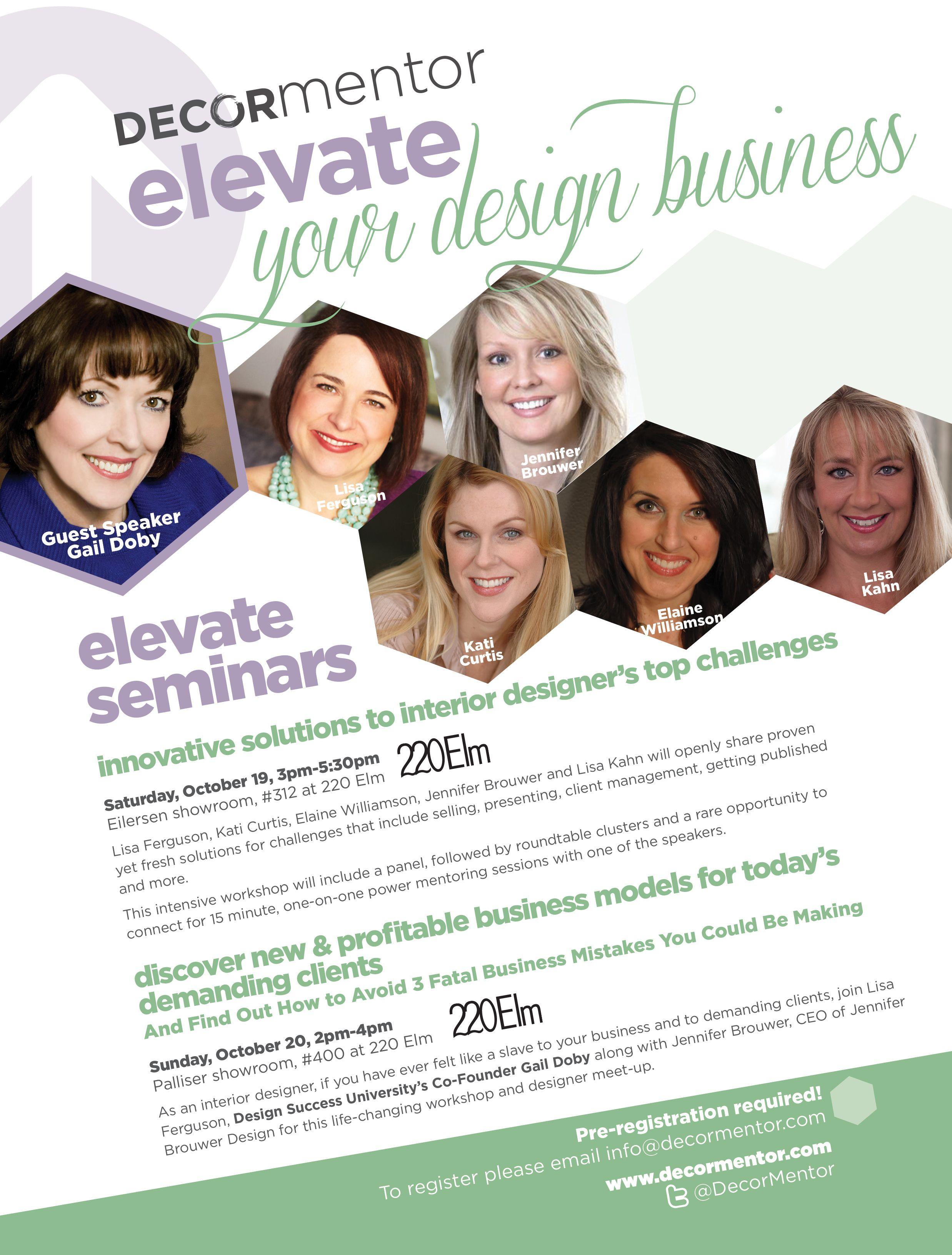 Decor Mentor ELEVATE seminars for interior designers Special
