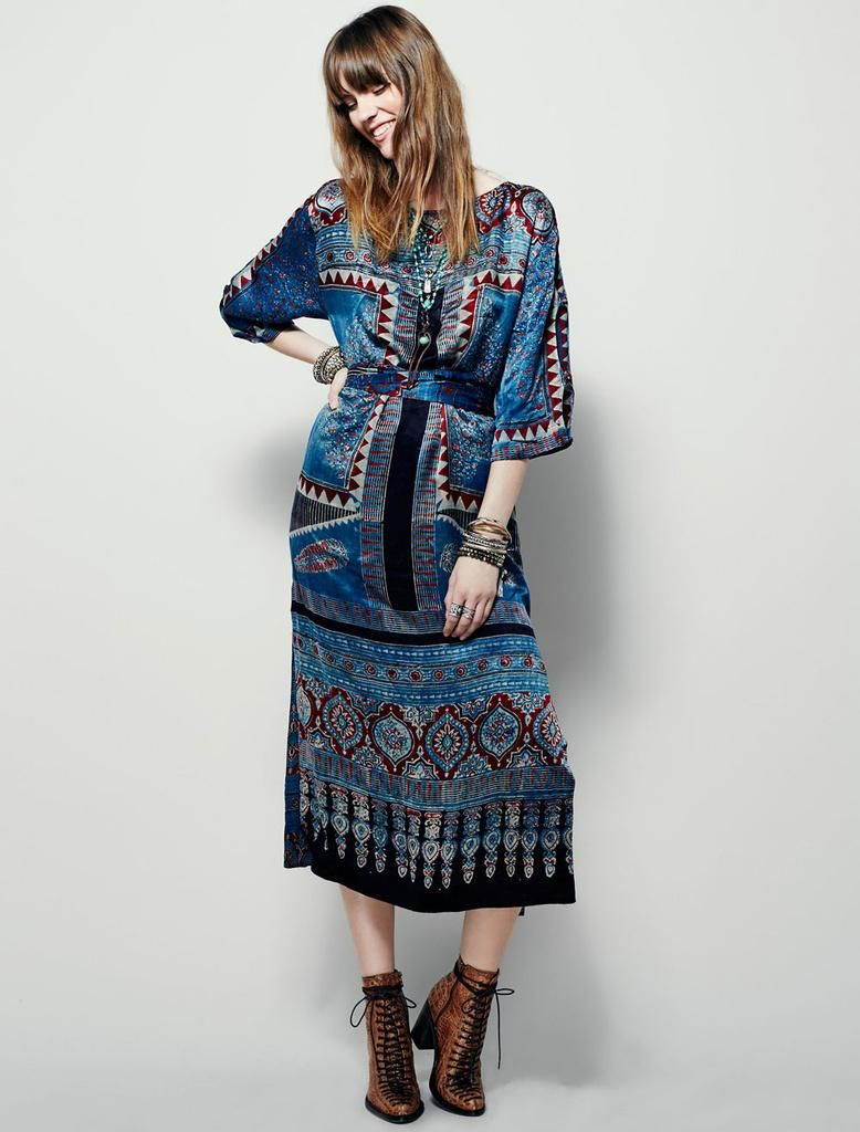 Milanoo milanoo blue long dress ethnic round neck half