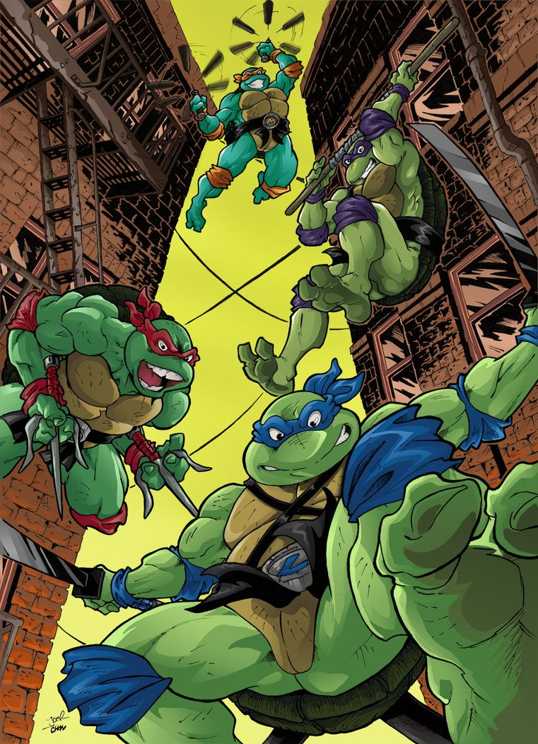turtles jumping from the rooftop coloured ver by joelchan tmnt