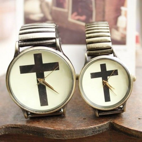 European and American retro cross couple watches