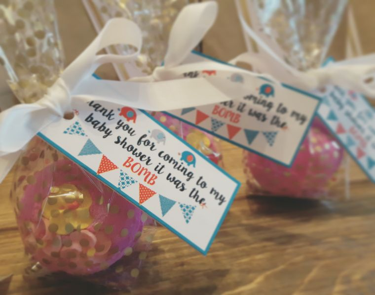 Lush Bath Bomb Baby Shower Favor Idea   Free Print Out Available
