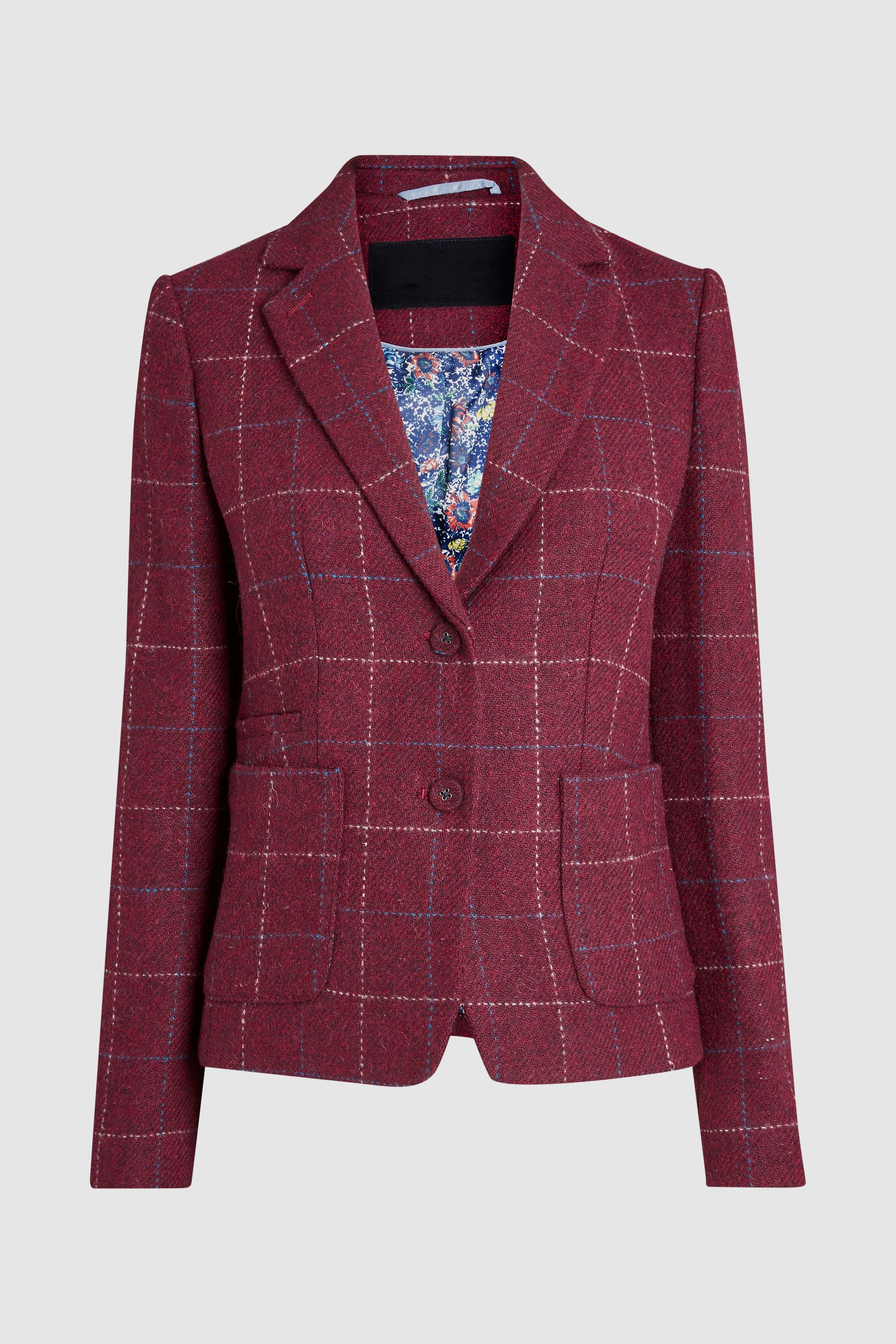 5c973f4eed0 Womens Next Berry Windowpane Harris Tweed Blazer - Red Harris Tweed Jacket,  Padded Jacket,