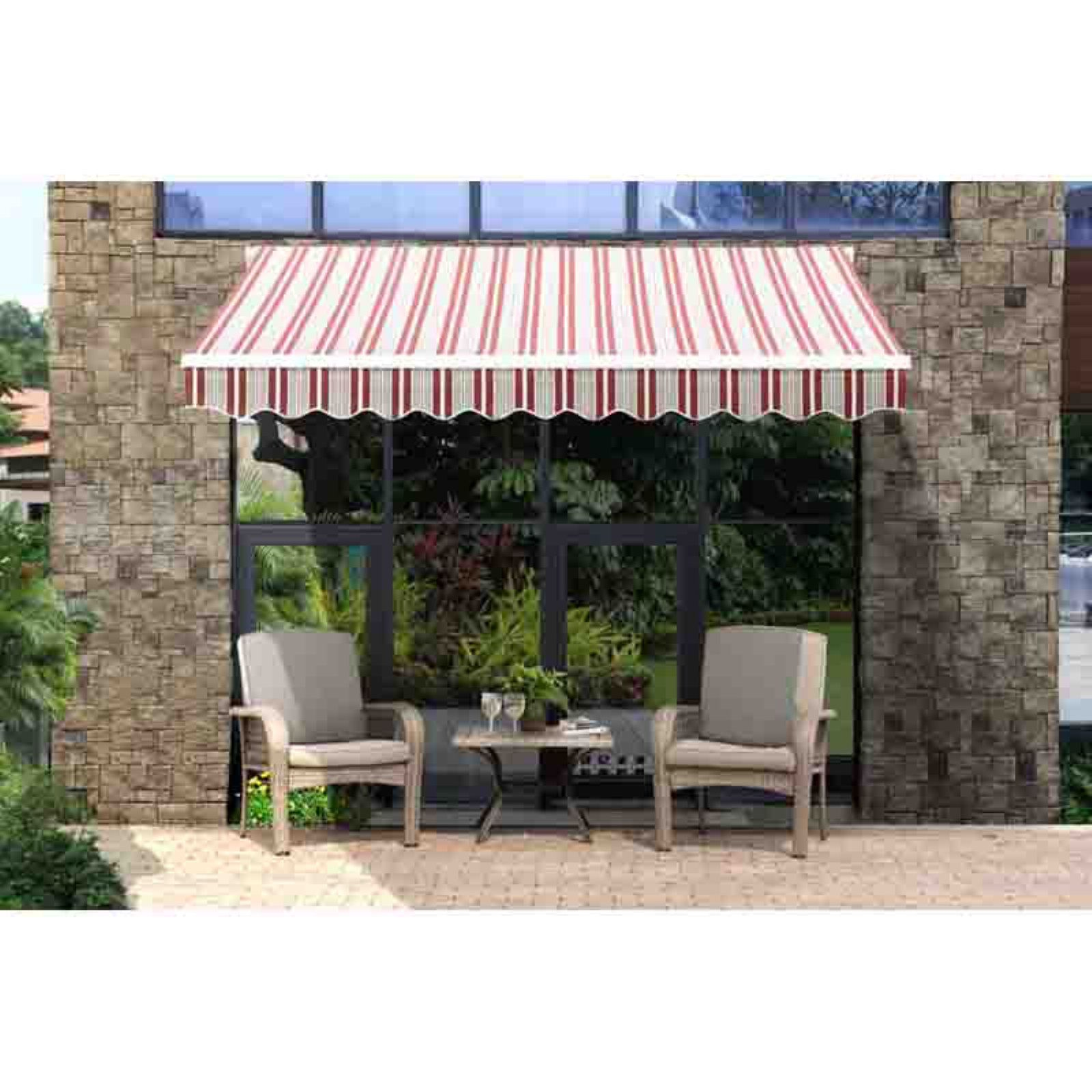 Sunjoy Classic 10 X 9 Ft Retractable Awning Striped Red Pergola Retractable Awning Outdoor Pergola