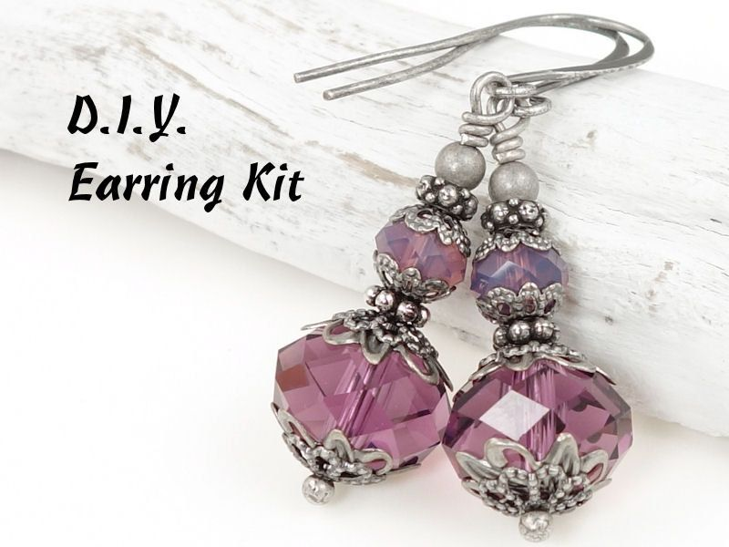 This DIY earring kit makes a lovely, romantic pair of earrings. The antique silver metals paired with sparkling Swarovski crystal evoke a sentimental, vintage feel. Theyre pictured with a rich amethyst purple paired with translucent cyclamen opal purple beads, but you can choose from any of the colors shown in the second photo.    --------------------- ★ ★ ★ ---------------------  This listing is for an un-assembled kit - a loose bag of beads to put together yourself. Youll need tools and…