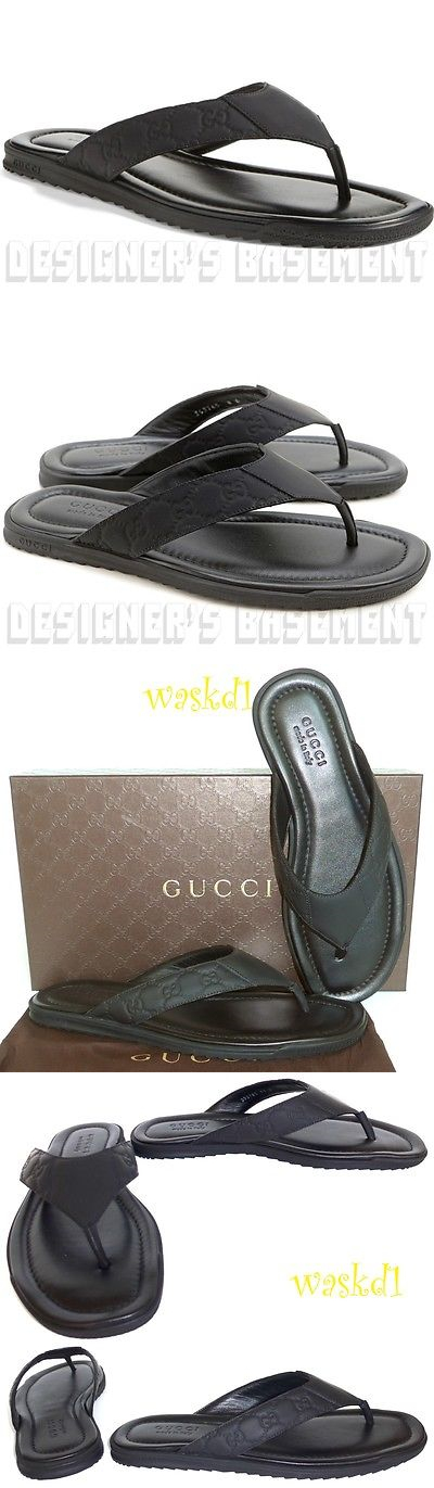 722b22c9f Sandals and Flip Flops 11504  Gucci Mens 11G Black Guccissima Leather Beach  Flip-Flop Thong Sandals Nib Auth -  BUY IT NOW ONLY   249.99 on eBay!