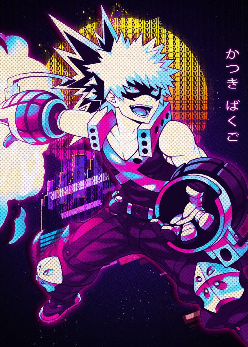 Katsuki Bakugo Poster Print By Introv Art Displate In 2020 Anime Wall Art Poster Prints Hero Wallpaper
