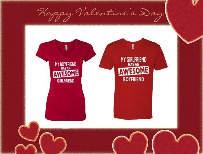 Valentine's Day Special Couples Bundle VNeck Tees My GF/BF Has An Awesome GF/BF
