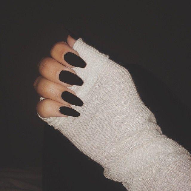 Matte Black Squoval Acrylic Nails | Nails | Pinterest | Matte black ...
