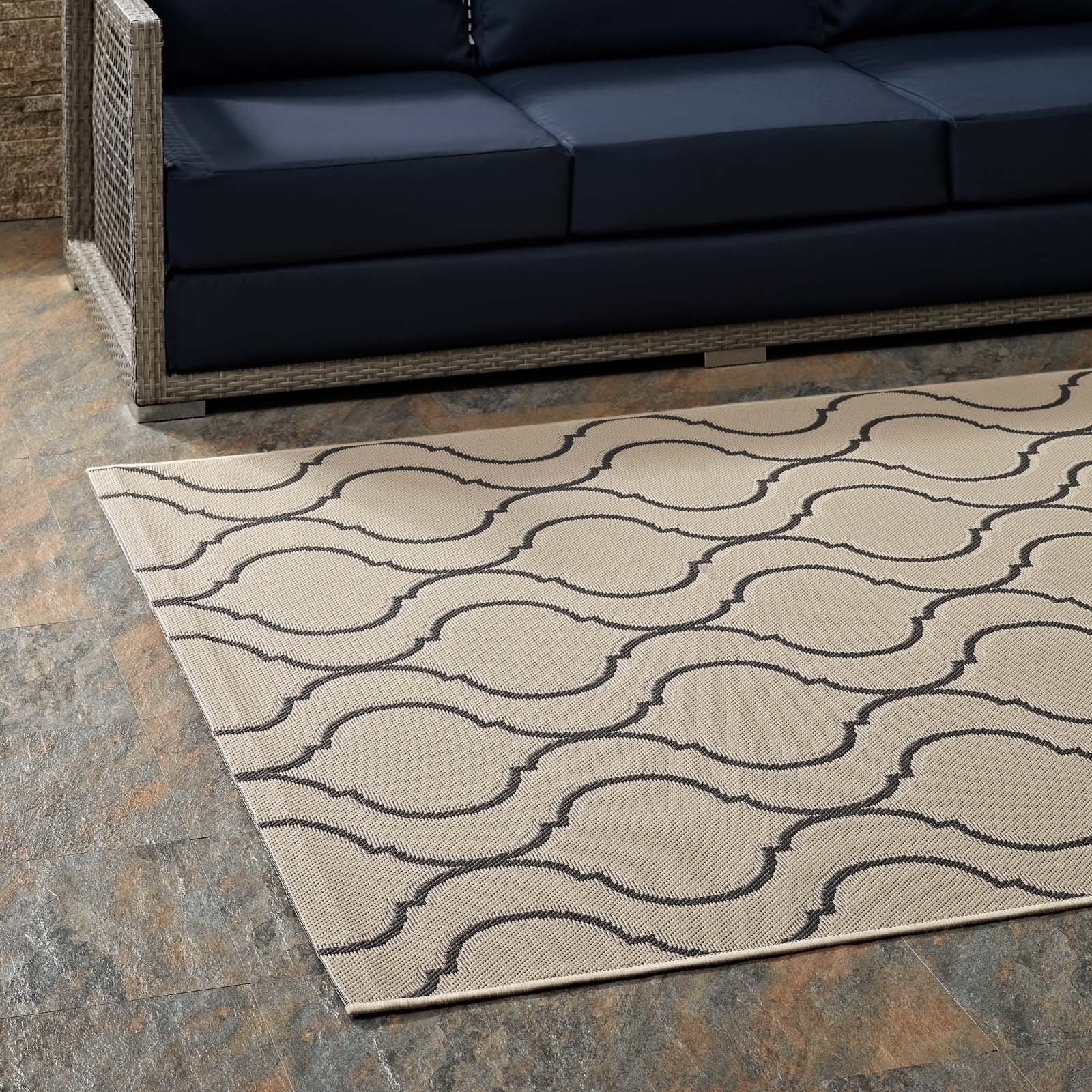 Linza Wave Abstract Trellis 8x10 Indoor And Outdoor Area Rug R